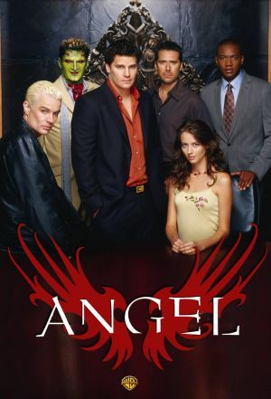 A spin-off of the Original vampire TV show, Buffy the Vampire Slayer, Angel proves itself with excellent dialogue and acting! James moved from Buffy to Angel much to Angel's dismay. Spike and Angel have a hundred year feud going on....now they are in love with the same girl. Bummer! From left to right: Spike, Lorne, Angel, Wesley, Charles, Fred (Winifred).
