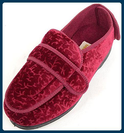 Damenschuhe/Slipper für orthopädische Füße mit extraweitem Klettverschluss - Burgund - EU 37 - Hausschuhe für frauen (*Partner-Link)