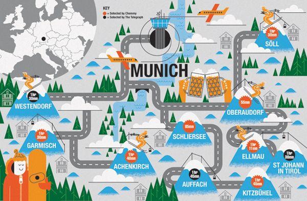 Telegraph: Ski Maps by John Devolle, via Behance