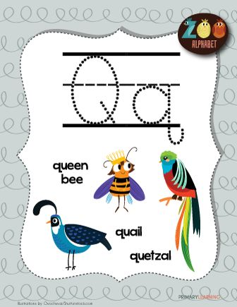 Letter Q Animals Lettering, Crafts for kids, Animals