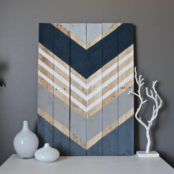 Muestra de arte de pared de madera de Chevron rústico moderno