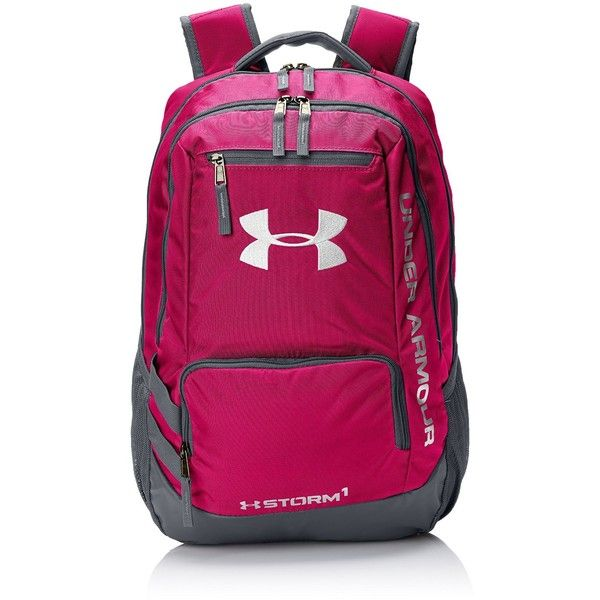 Under Armour Hustle II Backpack ❤ liked on Polyvore featuring bags, backpacks, pink backpack, under armour bag, knapsack bags, rucksack bag and under armour backpack