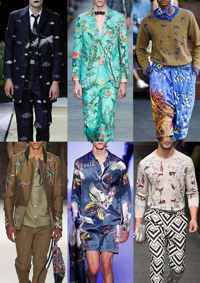 Menswear Spring/Summer 2016 Catwalk Print & Pattern Trend Highlights Part 2 - Birdlife - Thom Browne / Gucci / Issey Miyaki / Valentino / Louis Vuitton /Dolce & Gabbana