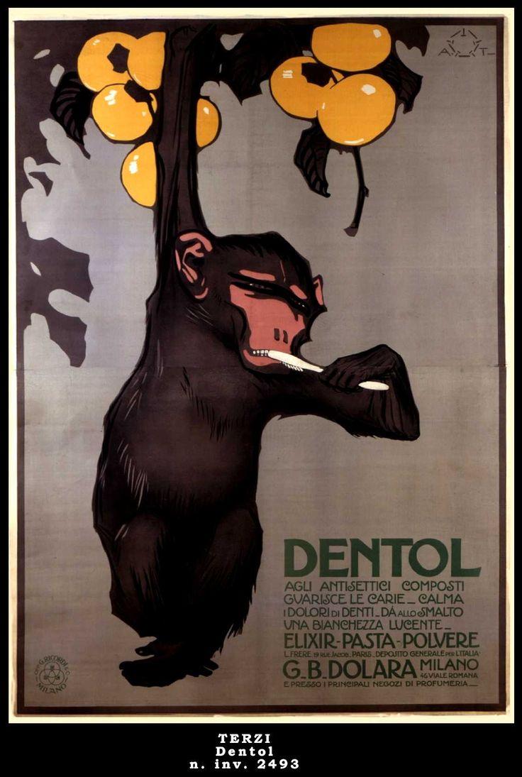 dentol poster by aleardo terzi 1914 monkey. Black Bedroom Furniture Sets. Home Design Ideas