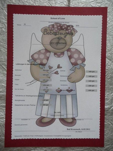 Valentinstag Liebesbeweis Liebeszeugnis Geschenk von UnVergleichliches auf DaWanda.com