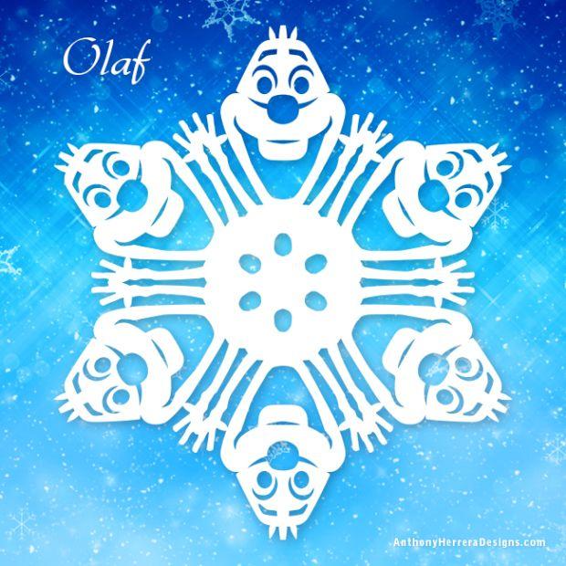 Olaf Printable Frozen snowflake #Disney #Frozen #Snowflakes