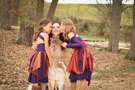 Rustic flower girl dress bohemian flower girl dress fairy