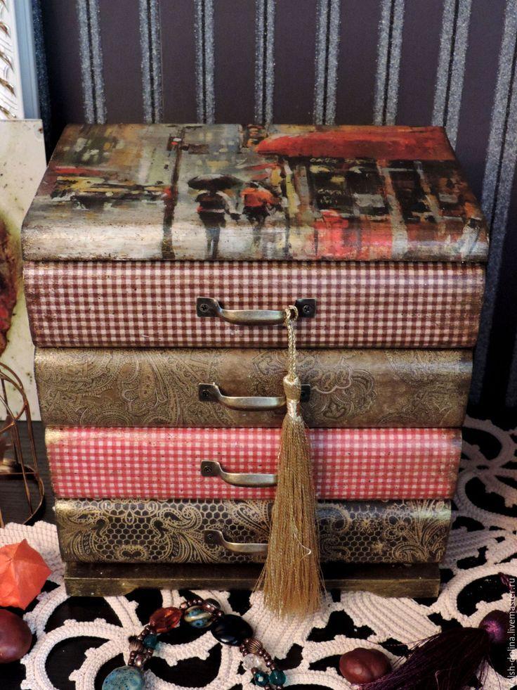 Купить Парижская жизнь, мини-комод (декупаж) - коричневый, мини комод, мини комодик, комод