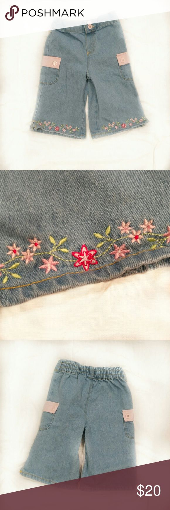 Kids' b.t. kids Toddler Girl's Cargo Jeans - jeans have pink embroidered flowers at the bottom - buttons and pocket flaps are pink - elastic waist at back - hippie kid's dream! b.t. kids Bottoms Jeans