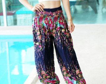 Tailandés impresión flor azul florecen Azteca Print étnico, Boho Strenchy pantalones, pantalones de Aladdin, elástico cintura ropa playa mujer holgados casuales F003