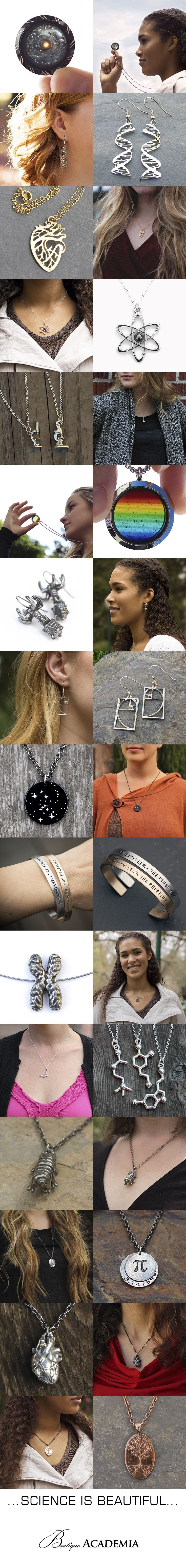 Amazing collection of science and math jewelry! Great gifts for teachers, students, scientists, and science lovers of all kinds.
