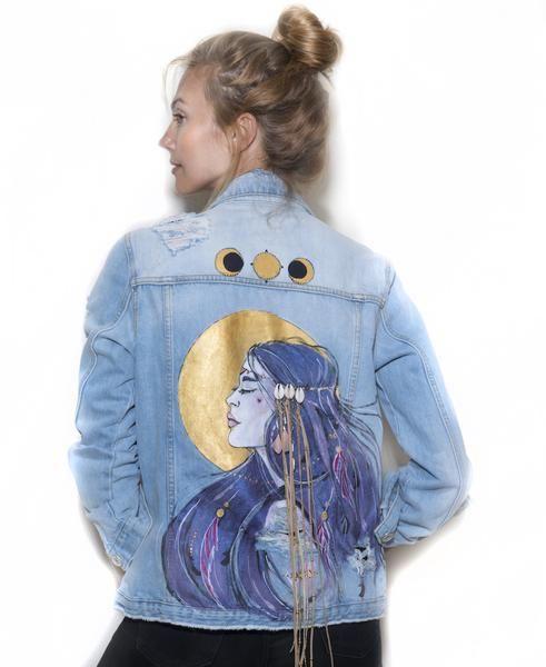 River Island denim jacket with original artwork by Ana Kuni