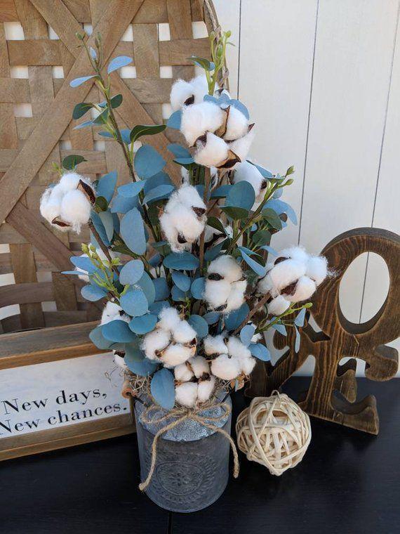 Cotton Stems And Eucalyptus In Galvanized Milk Canrustic Etsy Cotton Stems Cotton Decor Farmhouse Decor