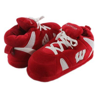 Comfy Feet NCAA Sneaker Boot Slippers - Wisconsin Badgers, Size: Medium (Mens 6 - 7.5/Womens 7 - 8.5) - WIS01MD