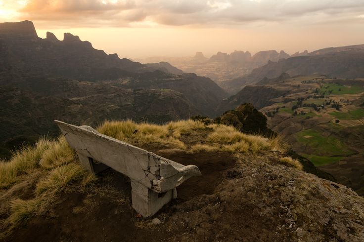The park bench with the greatest view in the world? Simien Mountains #Ethiopia #travel #picoftheday #earthporn