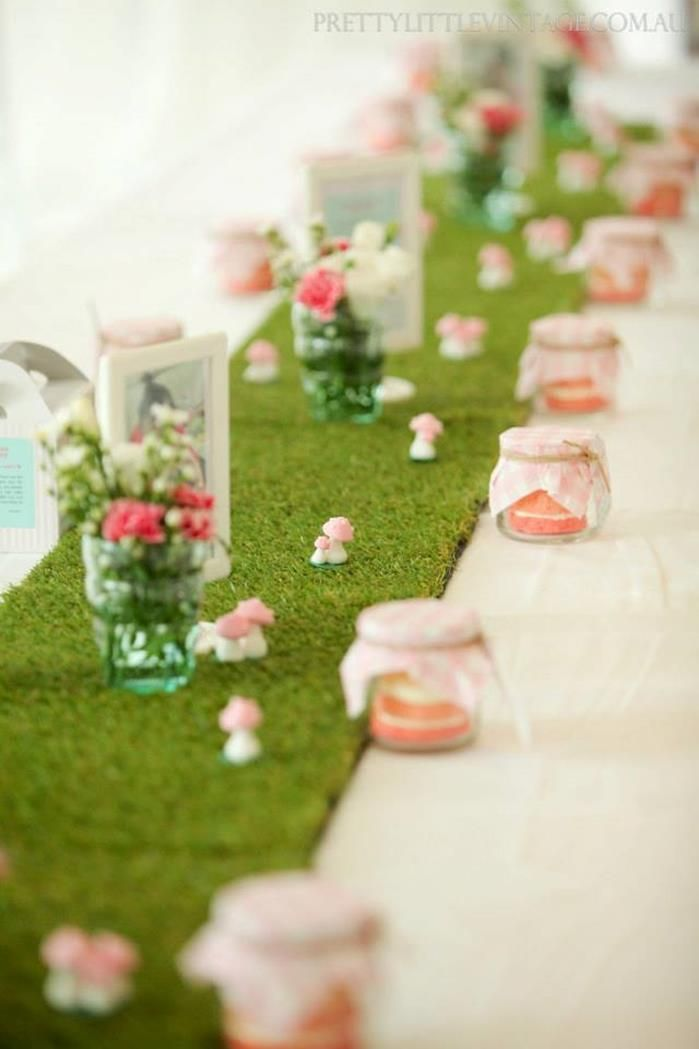 Cute idea for a table runner! Cupcake Shoppe 1st Birthday Party