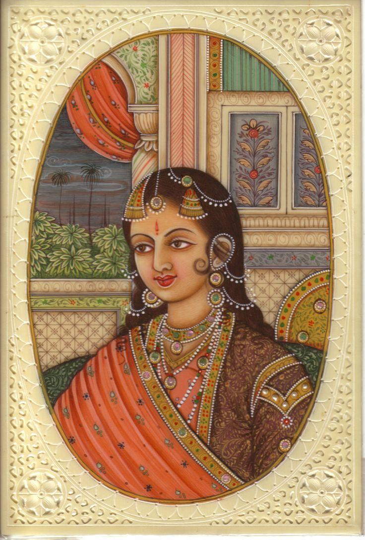 Mogul Portrait Art Indian Miniature Mughal Princess Handmade Watercolor Painting