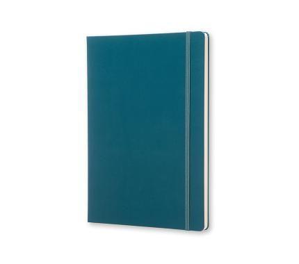 Caderno quadriculado A4 em capa dura, verde água