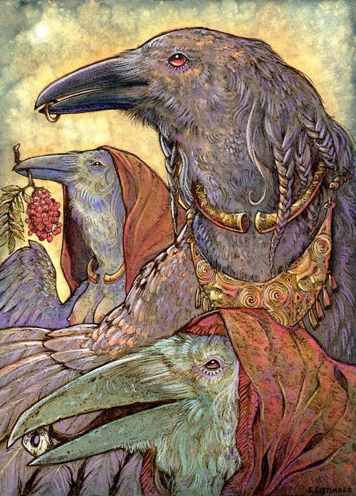 'Generations' - Celtic Raven Triple Goddess by Stephanie Lostimolo.