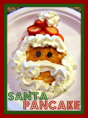 Santa pancakes also option to make one in round circle shapes for a snowmen and use choc chips on top as face and buttons and pieces of bacon as a scarf; snowman donuts candy corn for noses and icing dots for eyes; in stockings everyone gets a box of cereal for xmas morning.
