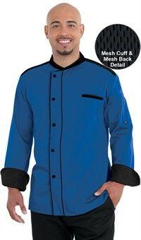 Men's Half Back Mesh Chef Coat - Snap Front Closure - 65/35 Poly/Cotton Fine Line Twill