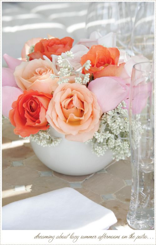 Peachy Pinks and Coral Roses Bouquet