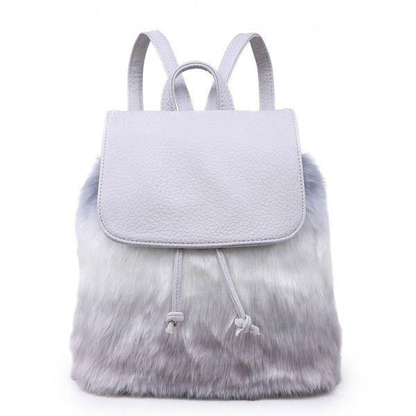 HOWL HUSKY GREY FAUX FUR BACKPACK ($32) ❤ liked on Polyvore featuring bags, backpacks, backpack bags, miniature backpack, mini rucksack, grey backpack and gray backpack