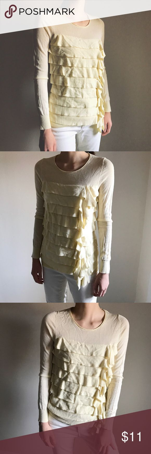 Ann Taylor summer ruffle sweater in cream yellow Ann Taylor summer ruffle sweater in cream yellow Size: SP (Petite Small)   #anntaylor #ruffle #detailed #details #cream #creamyellow #yellow #knit #sweater #spring #summer #vintage #vintagesweater #modern Ann Taylor Sweaters Crew & Scoop Necks
