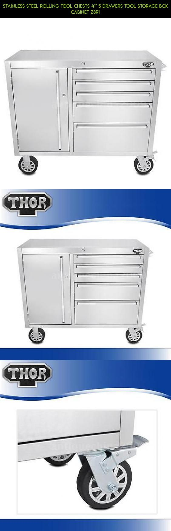 """Stainless Steel Rolling Tool Chests 41"""" 5 Drawers Tool Storage Box Cabinet Z8R1 #plans #storage #parts #5 #drawers #shopping #technology #drone #kit #products #fpv #racing #camera #tech #gadgets"""