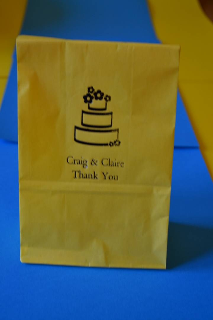Yellow and blue personalised cake bags