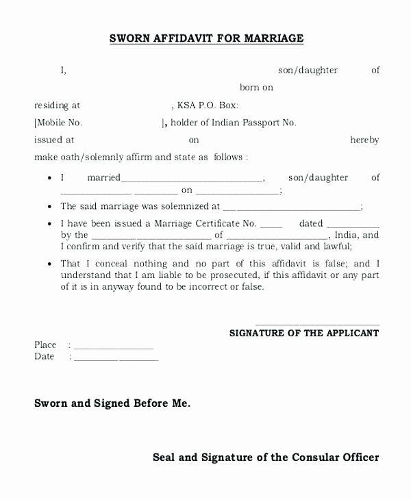Printable Sample Affidavit Form Form Statement Template Word