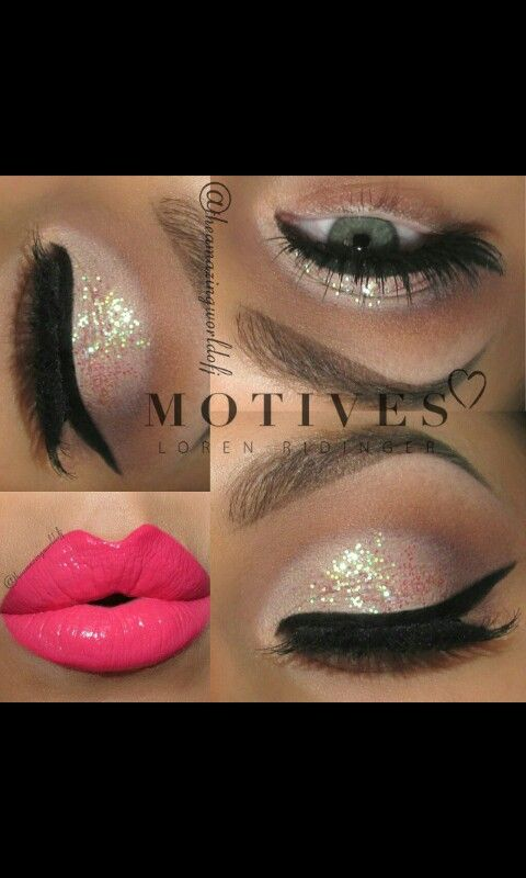 Glitter eyes and hot pink lipstick