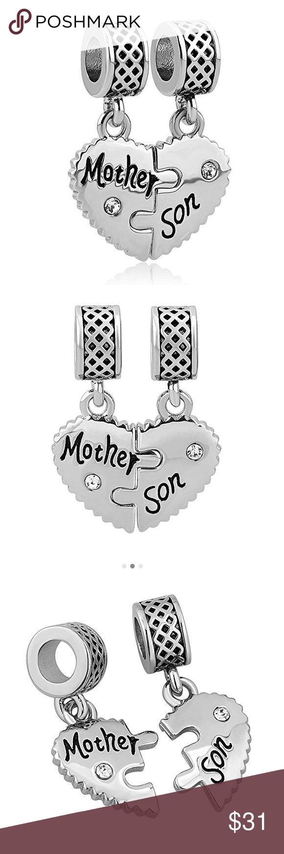 Mom Mother Son Love Heart Charm Beads Mom Mother Son Love Heart Charm Beads For Snake Chain Bracelet Pandora Jewelry Bracelets