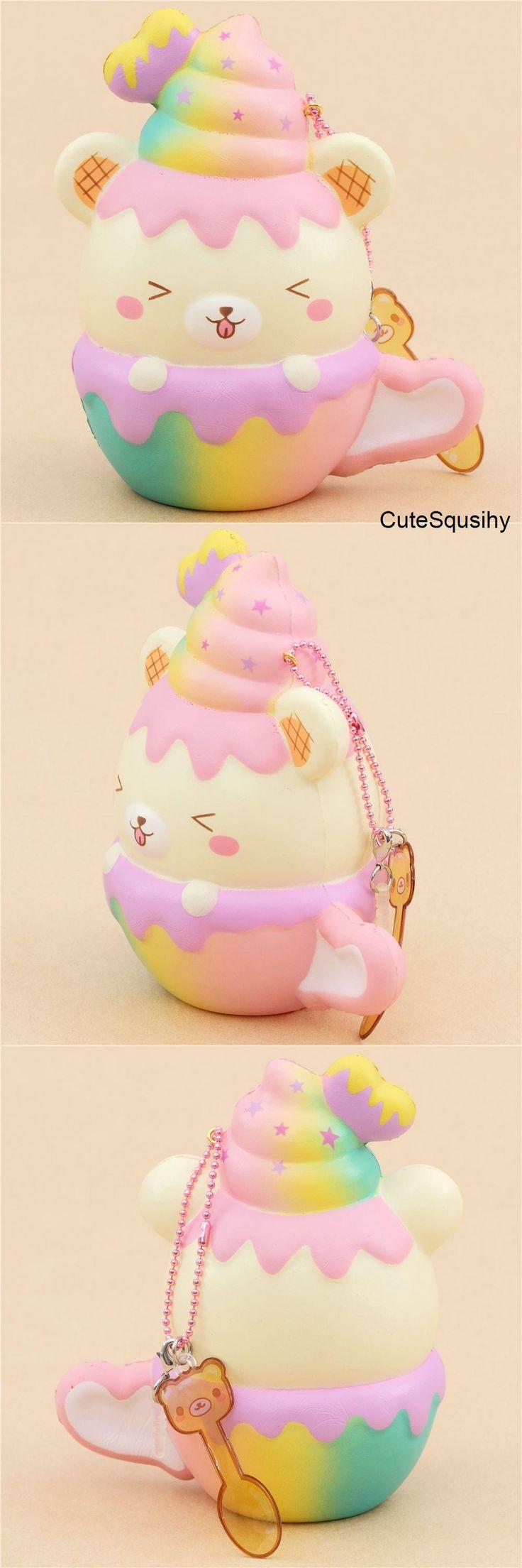 Kawaii Puni Maru Yumiibear rainbow mug squishy with dripping strawberry sauce!