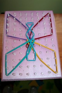 Homemade Geoboard, Preschool at Home.  These are great for dexterity and creativity, learning shapes and letters, counting, etc.  Easy to make with a board and nails or push pins, then use rubber bands or hair elastics to let kids make patterns. We had these in our Montessori classrom when I was little.