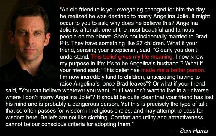 Sam Harris #quote #religion #atheism #Angelina #Jolie