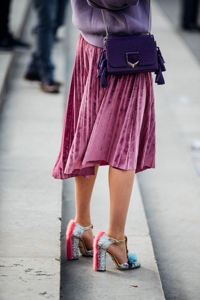 Velvet and pleated skirts - Paris Fashion Week Street Style 2017 | British Vogue