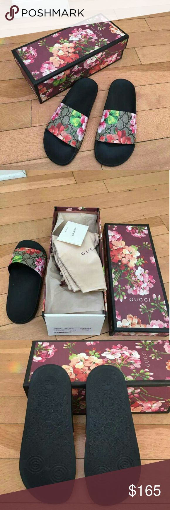 Gucci Blooms GG Supreme Slide Men&Women sizes Brand new 2017 Gucci Bloom slides men and women sizes Brand new 100% Authentic All original Boxing is Oncluded  with All Text 404-602-2558 for offers or deals Gucci Shoes Sandals & Flip-Flops
