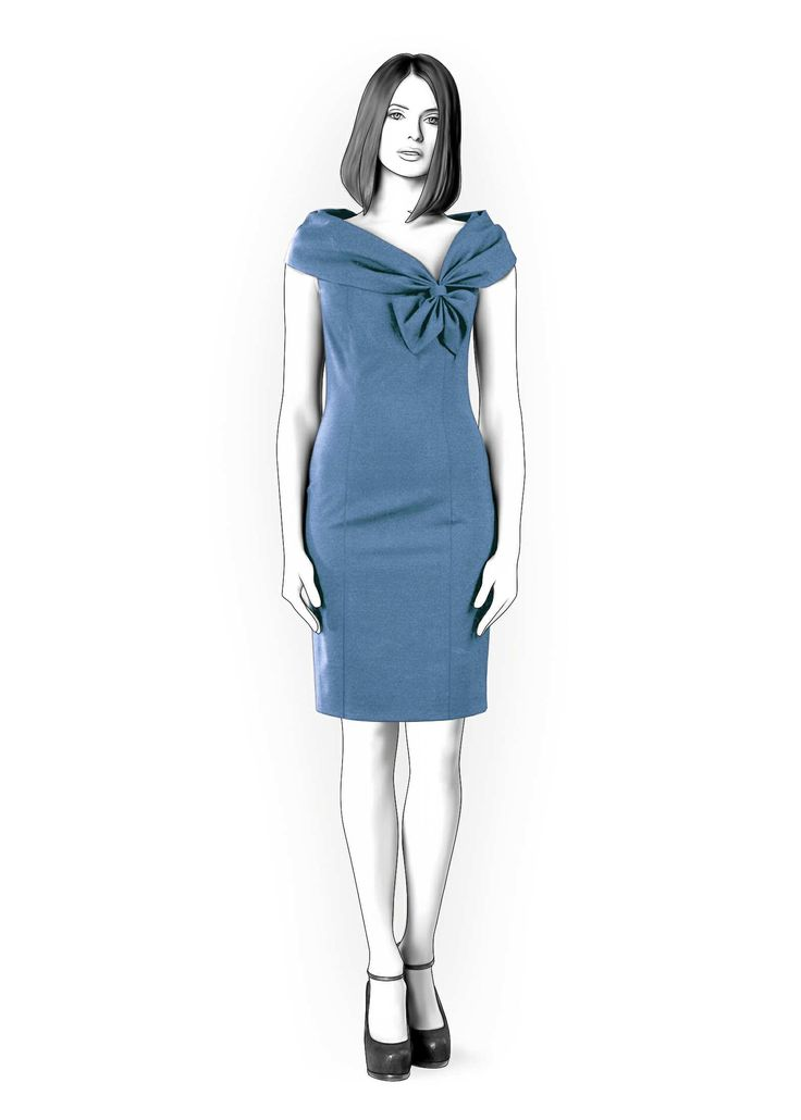 Dress With Wide Collar - Sewing Pattern #4287. Made-to-measure sewing pattern from Lekala with free online download.