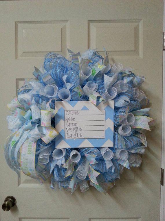 Baby Boy Blue Birth Announcement WreathDouble by CherylsCrafts1