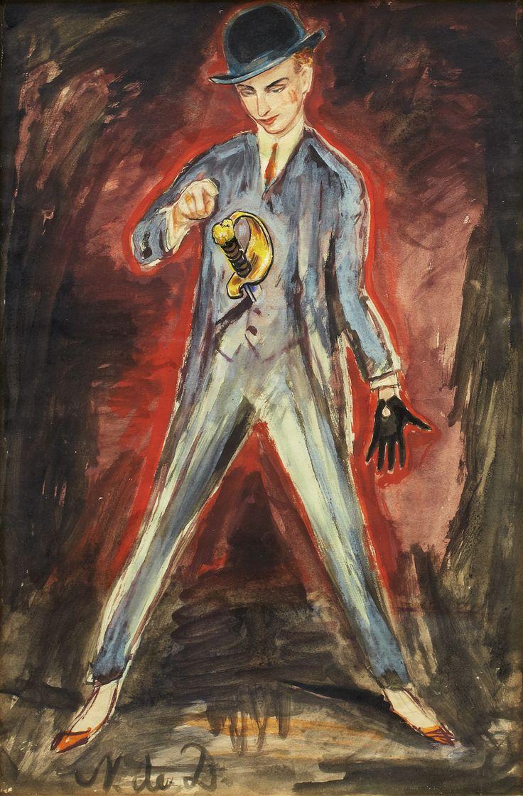 """thunderstruck9: """" Nils Dardel (Swedish, 1888–1943), Dandy med svärd [Dandy with sword]. Mixed media, 47.5 x 32 cm. """""""