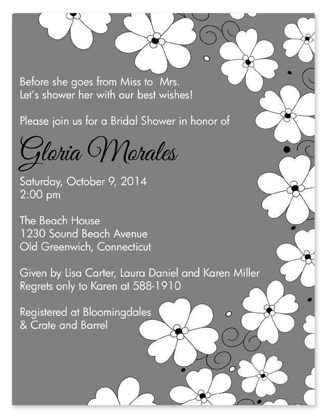 Poppies Gray Bridal Shower Invitations