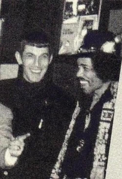 Leonard 'Spock'Nimoy and Jimi Hendrix... there is almost too much badassness in this photo to handle