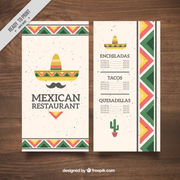 Flat mexican hat and moustache mexican food menu Free Vector