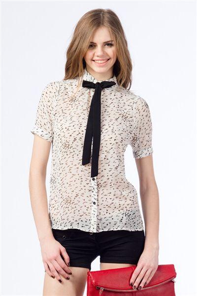 Kuş Baskılı Yaka Fularlı Gömlek 19,99 TL