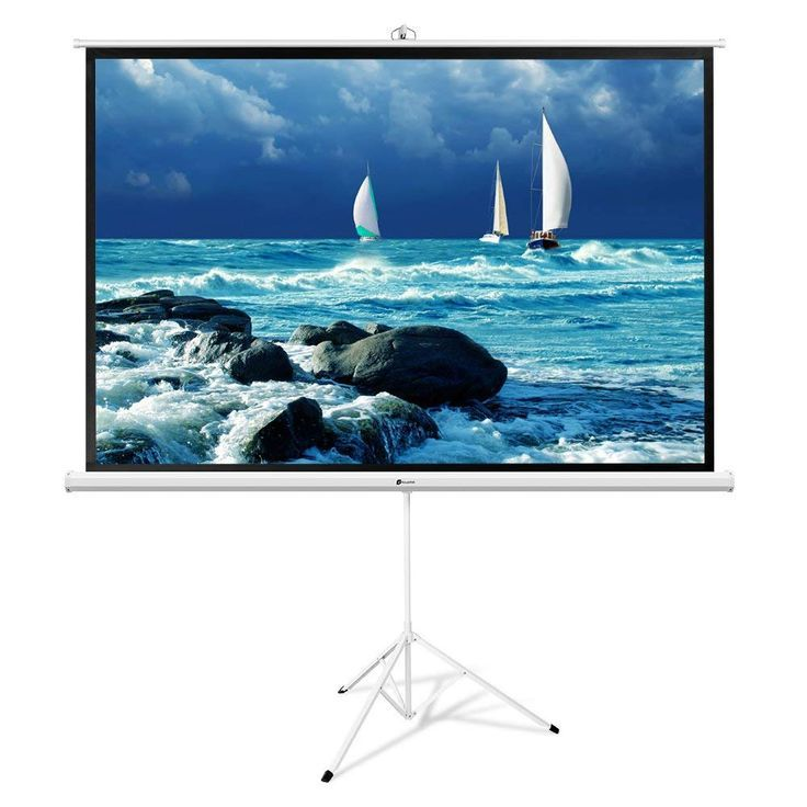 With 100 Diagonal 87 X 49 And Aspect Ratio 16 9 This Large Screen With Heavy Duty Tripod Frame Perfect For Home Busines Projector Screen Screen Outdoor