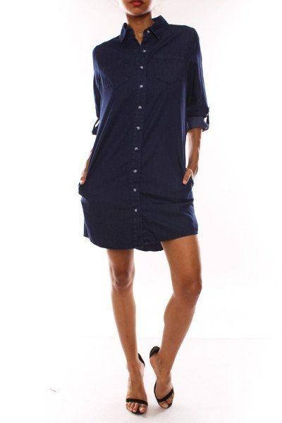 Denim Shirt Pocket Dress #Denim-Shirt-Dress #denim-shirt-dress-with-pockets #shirt-dress-with-pockets