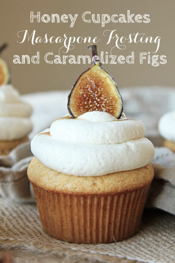 Honey cupcakes, mascarpone frosting and caramelized figs! http://www.stylemepretty.com/living/2012/10/28/fall-recipe-honey-cupcakes-w-marscarpone-frosting-carmelized-figs/