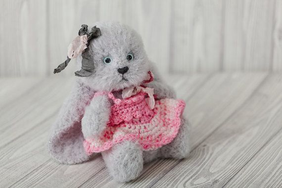 Zaryana - gray #rabbit with long ears in a bright pink dress. Stuffed toys, games, and designed for decoration. Height 18 cm\7,1 inch. Ears length - 14 cm\5,5 inch.  Photo p... #etsy #crochet #animal #knit #toy #handmade #gift #bunny