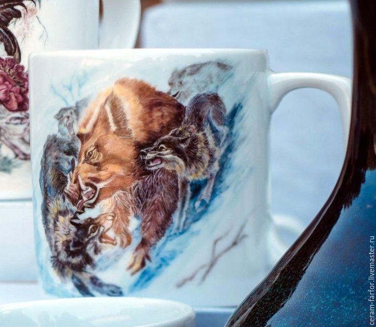 Купить охота на кабана - белый, посуда с росписью, керамическая посуда, фарфор, Керамика, роспись, охота